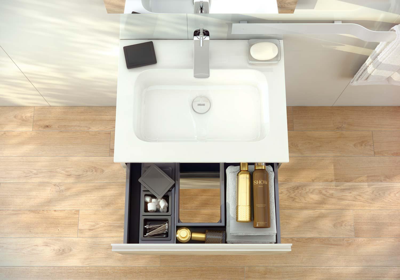 Cajones compartimentados del mueble de ba o for Mueble cajones pequenos