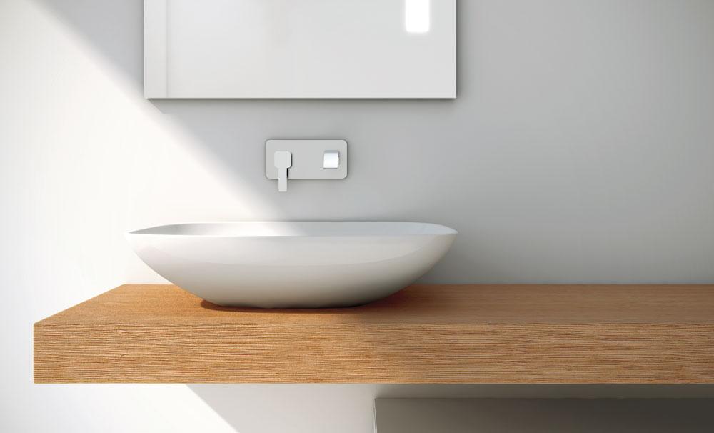 Muebles Baño Para Lavabos Sobre Encimera:Ejemplo de encimera integrada y lavabo sobre-encimera de madera